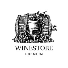 Wine logo with grape and wine cask in hand drawn style. Vector illustration design.