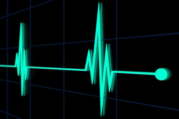 peaks of cardiac activity pulse 3d