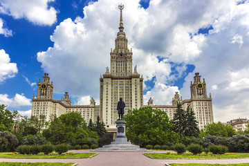 View of Moscow State University on a beautiful summer day.