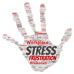 Vector conceptual mental stress at workplace or job pressure human hand print stamp word cloud isolated background. Collage of health, work, depression problem, exhaustion, breakdown, deadlines risk