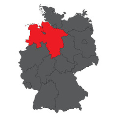 Lower Saxony red on gray Germany map vector