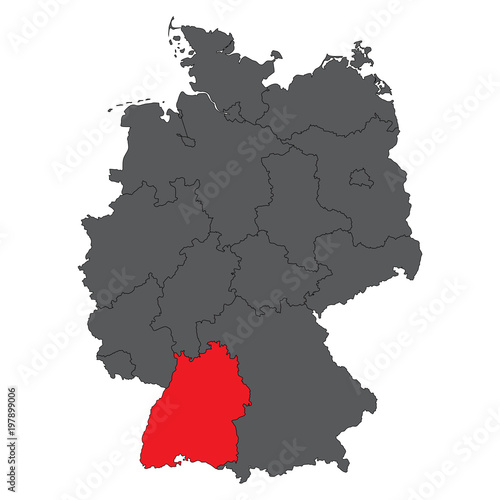 Baden Wurttemberg Red On Gray Germany Map Vector Stock Image And