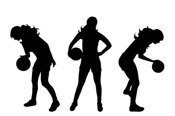 Vector silhouette of woman who play basketball on white background.
