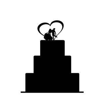 Vector silhouette of wedding cake.