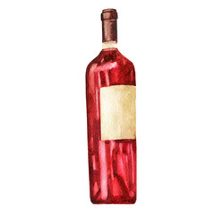 Watercolor illustration. Image of a red bottle of wine.