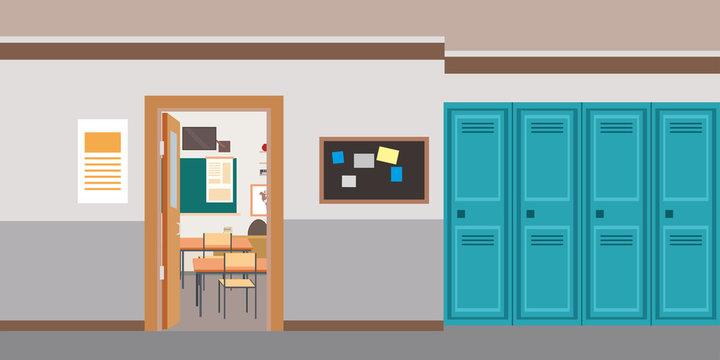 Cartoon empty school interior,open door in classroom