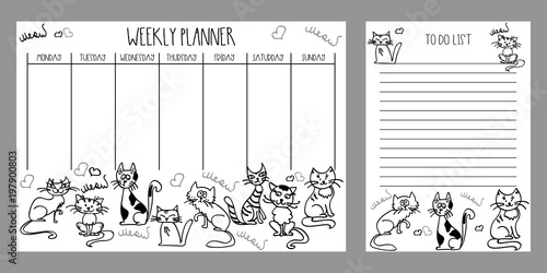 weekly planner and to do list with cute cats stock photo and