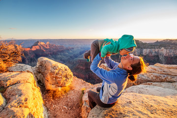 Canvas Prints Arizona A mother with baby son in Grand Canyon National Park, North Rim, Arizona, USA