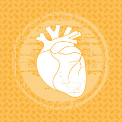 Human heart icon in vintage style