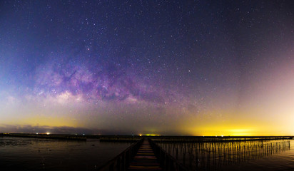 Panorama view of milky way at the bridge