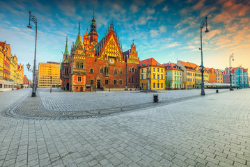 Fantastic morning scene in Wroclaw on Market Square, Poland, Europe