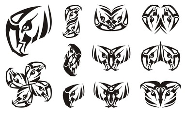 Eagle head symbol and double symbols from it. Tribal unusual symbols formed from the eagle head. Black on white