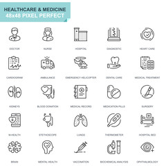 Simple Set Healthcare and Medicine Line Icons for Website and Mobile Apps. Contains such Icons as Doctor, Hospital, Medical Equipment. 48x48 Pixel Perfect. Editable Stroke. Vector illustration.