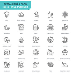Simple Set Restaurant and Food Line Icons for Website and Mobile Apps. Contains such Icons as Fast Food, Menu, Organic Fruit, Coffee Bar. 48x48 Pixel Perfect. Editable Stroke. Vector illustration.