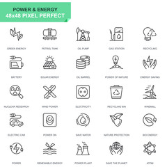 Simple Set Power Industry and Energy Line Icons for Website and Mobile Apps. Contains such Icons as Recycling, Petrol Tank, Oil Pump. 48x48 Pixel Perfect. Editable Stroke. Vector illustration.