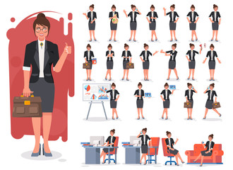 Businesswoman character creation set. Showing different gestures character vector design. Self confident businesswoman in different poses. Build your own design. Flat style infographic illustration.