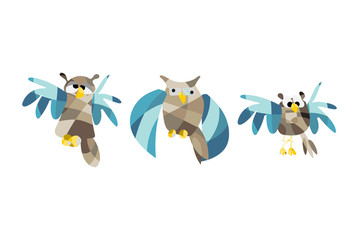Cute owl pictures. Vector illustration set of owls in origami style
