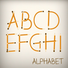 Latin font from pencils. Decorative alphabet vector font.