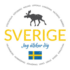 """Sverige grunge button with flag (""""Sweden - I love you"""")"""