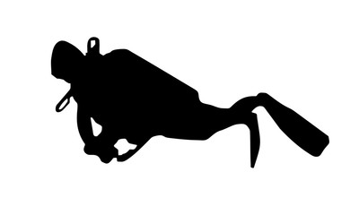 the silhouette of the diver