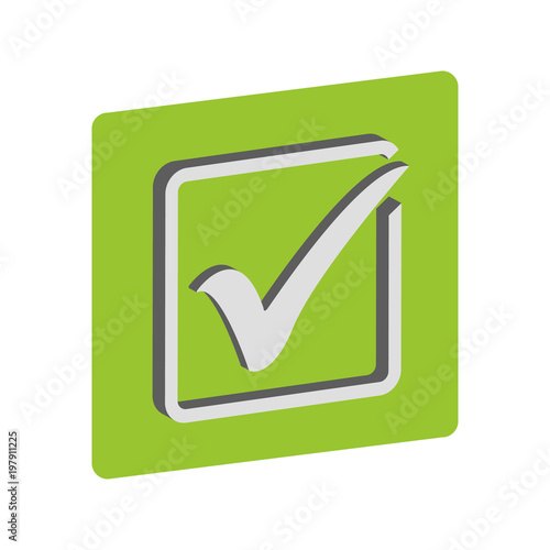 Green Check Mark Icon In A Box Tick Symbol In Green Color Vector