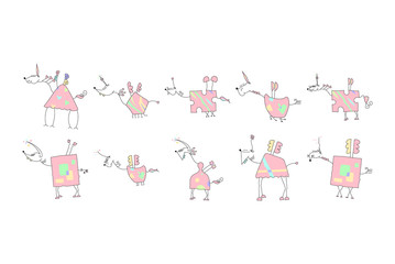 Herd of Pink Unicorns with wings and horn - Doodle Vector Illustration of a Hand Drawn Unicorn Sketch