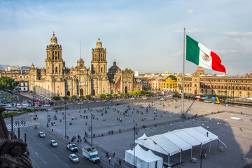 Fototapete - MEXICO CITY - FEB 5, 2017: Constitution Square (Zocalo) view from the dome of the Metropolitan Cathedral