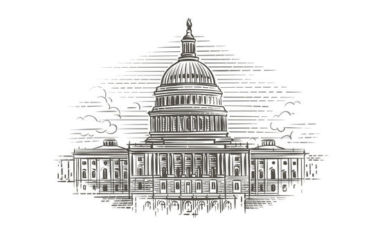 Capitol building hand drawn illustration. Vector.