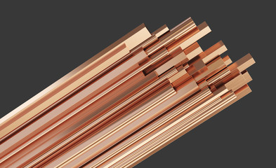Copper metal different types, rods of copper. Rolled metal products. Isolated on gray background. 3d illustration.