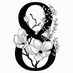 Vector Hand Drawn floral Number Eight monogram and logo