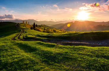winding road along the grassy rural hill at sunset. gorgeous landscape of Carpathian mountain in springtime