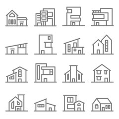 Various Real Estate Property Modern Style Buildings vector line icon set