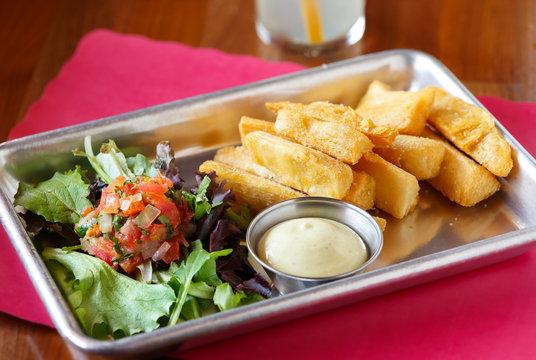 Yuca Fritas with Mojo Sauce and Salad