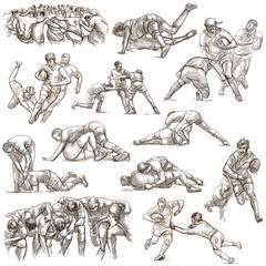 RUGBY - An hand drawn freehand collection. Line art pack of some sportmen on white. Isolated.