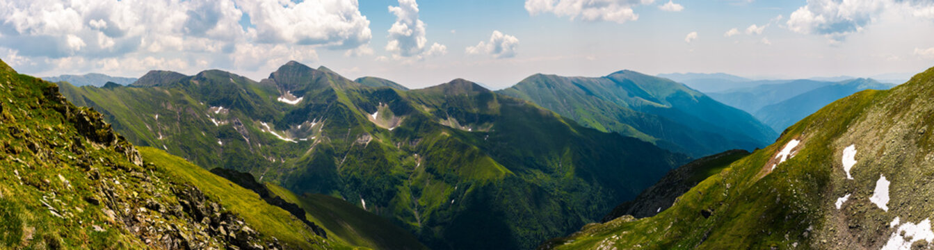 gorgeous panorama of Fararas mountains. lovely place in Romania, popular destination for hiking and other outdoor activities