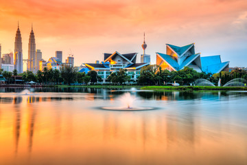 Canvas Prints Kuala Lumpur Kuala Lumpur, Malaysia. Sunset skyline from Titiwangsa Park.