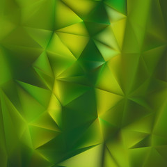 Polygonal light green background with triangle shapes. Crystallized effect.