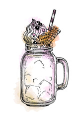 Milkshake in mason jar.