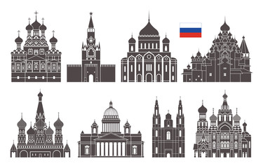 Russia set. Isolated Russia architecture on white background