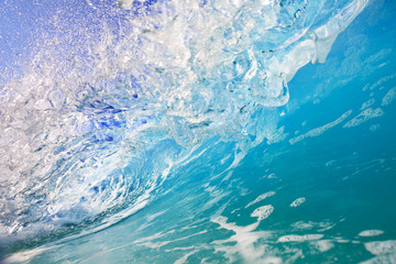Wall Mural - Inside the ocean wave, blue water in motion