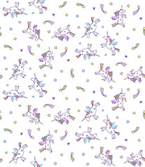 Vector seamless pattern of pastel unicorns on white background. Cartoon unicorn texture