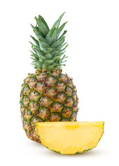 Whole ananas and slice isolated on a white background
