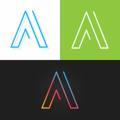 letter A logo alphabet line design icon set background