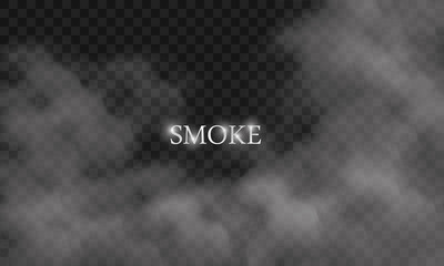 White cloud or smoke isolated on black background