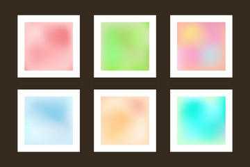Set of smooth backgrounds. Collection blurry textures. Gradient mesh.