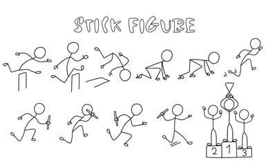 Set of stick figure athletics. Simple drawing running people pictures.Sport vector illustration