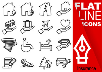 Editable stroke 70x70 pixel. Simple Set of insurance vector sixteen flat line Icons - fire, flood, earthquake, house, finance, travel, health, hurricane, wheelchair, contract, car accident, repair
