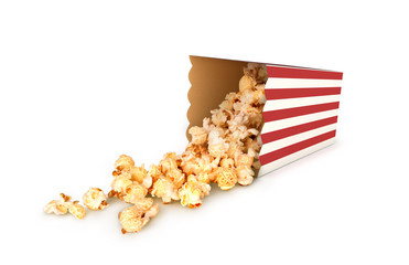 popcorn box isolated. Cinema food concept