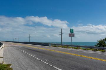USA, Florida, Seven Mile Bridge between florida keys over the ocean