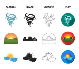 Tornado, sunrise, cloudiness, snow and frost. The weather set collection icons in cartoon,black,outline,flat style vector symbol stock illustration web.